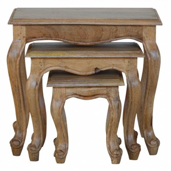 Mango Wood French Style Nest of Tables / Stools
