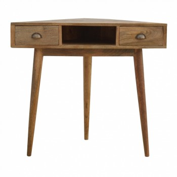 Mango Wood Corner Desk with 2 Drawers