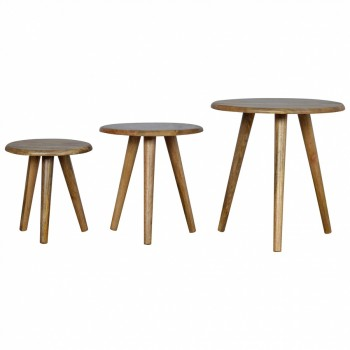 Mango Wood Nordic Style Nest of Stools / Tables
