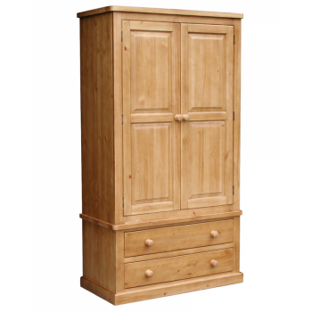 OBW Chunky Pine Double Wardrobe 2 Drawers