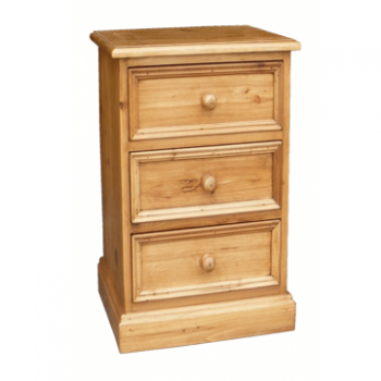 OBW Antique Pine Small 3 Drawer Bedside