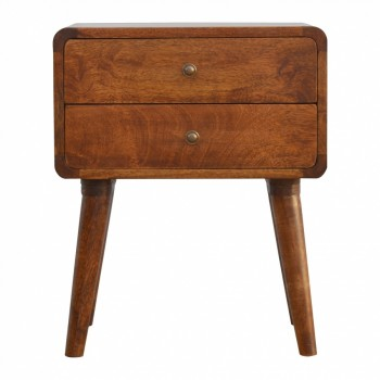 Mango Wood 2 Drawer Curved Bedside with Chestnut Finish