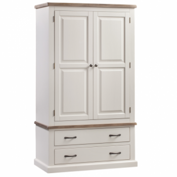 OBW Painted Pine 2 Drawer 2 Door Wardrobe