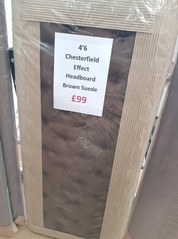 Clearance 4'6 Double Chesterfield Effect Half Headboard - Brown Suede