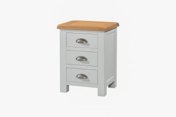 OBW Grey Painted Pine 3 Drawer Bedside