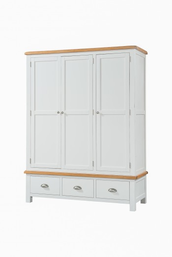 OBW Grey Painted Pine 3 Door 3 Drawer Wardrobe
