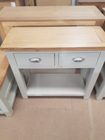 CLEARANCE Grey Painted Console Table w/ 2 Drawers