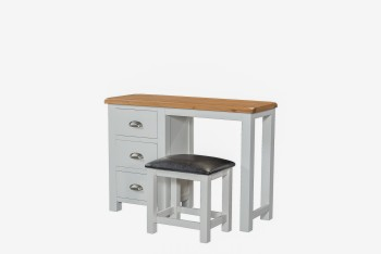OBW Grey Painted Pine Dressing Table & Stool