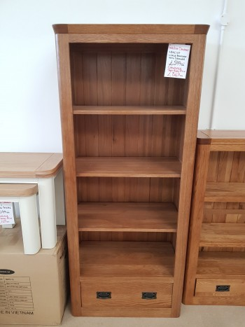 CLEARANCE Oak Tall Bookcase with Drawer
