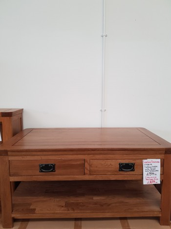 CLEARANCE Oak Coffee Table with 2 Drawers