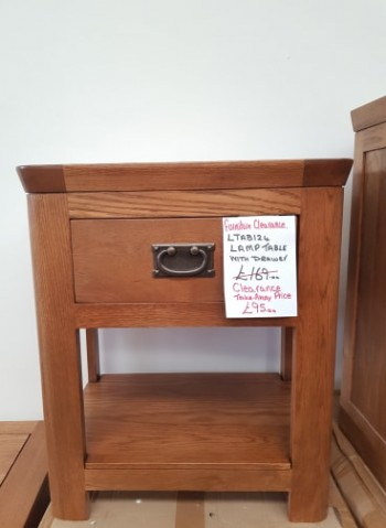 CLEARANCE Oak Small Lamp Table with Drawer