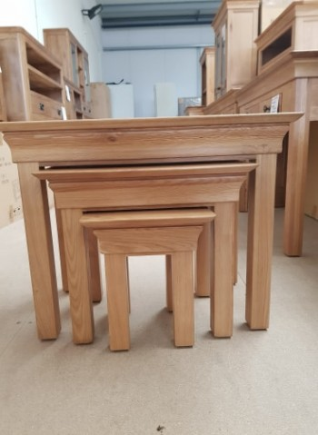 CLEARANCE Oak Nest of 3 Tables